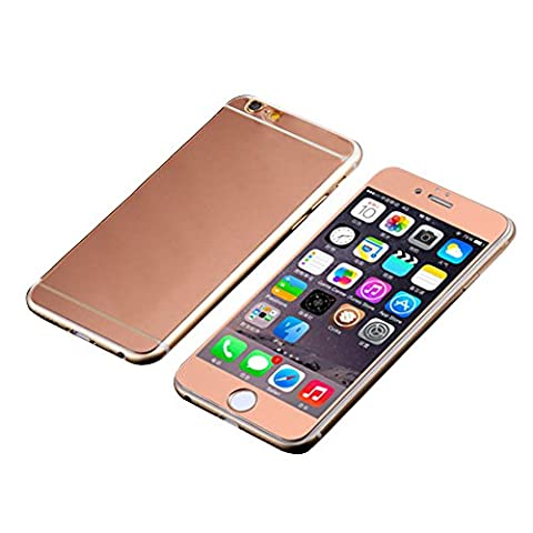 Avant et Arriere Protecteur d'écran en Verre Trempé Pour Apple iPhone 5G 5S - Yihya 9H Premium Miroir Effet Couverture Complet Tempered Glass Film Protection,Bords Arrondis - Or rose(Rose