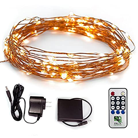 Fairy Star LED String Lights - Extra Long 39ft Warm White Twinkle Copper Wire Lighting - Waterproof Indoor Outdoor Decor, Wedding, Bedroom, Dorm, Party, Garden, Patio, Bistro, Backyard - UK DC 6V Wall Adapter + BONUS Battery Adapter +