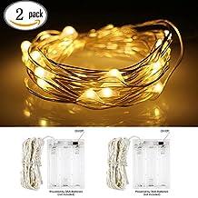 InteTech 2 di 5 metri 50 LED Battery Operated luci della stringa legare d'argento Luce natalizia Decorazione natalizia uso interno (Warm White-01)