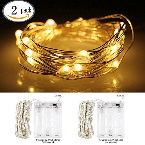 InteTech 2 di 5 metri 50 LED Battery Operated luci della stringa legare d'argento Luce natalizia Decorazione natalizia uso interno (bianco caldo)
