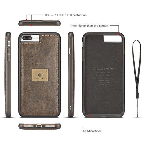 Handy-Hüllen & Hüllen, CaseMe Für iPhone 7 Plus Brieftasche Case - Card Case für iPhone 7 Plus [Slim TPU Leder Schutz Kickstand Abnehmbare Abdeckung] ( Farbe : Braun ) Braun