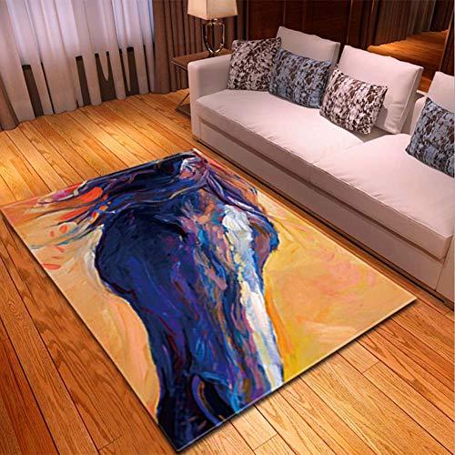 Zmymzm Abstraktes Creative Ölgemälde Modern Design Teppich Für Schlafzimmer Computer Stuhl Wohnzimmer Couchtisch Carpet Kinderzimmer Spielmatte,D,150 * 200cm -