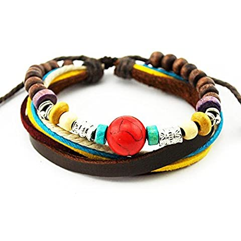 Real Spark Multi Color Rope Leather Wristband Tribal Adjustabel Red Wood Beaded Wrap Bracelet by Real Spark