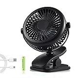 Mini Ventilateur USB, Backture Portable Mini Fan avec Batterie Rechargeable, 3 Modes Rotation à 360° Mini Ventilateur de Bureau pour Poussette, Voiture, Camping, etc...