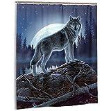 Sherry K-Shower Curtains Duschvorhang Mystic Wolf Bad Vorhang Mit Haken Langlebig Wasserdichtes Gewebe Bad Vorhang Sets (183 cm x 183 cm)