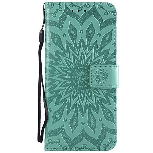 Coque Sony Xperia XZ3, Haute Qualité Soleil Motif Gaufré PU Portefeuille Cuir Flip Case Cover [Porte-Carte] [Fonction de Support] pour Sony Xperia XZ3 - Green