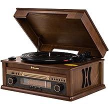 Roadstar HIF-1799 Retro Kompaktanlage mit Plattenspieler, CD-Player und Radio (UKW / MW, CD / MP3, beleuchtetes LCD-Display, Fernbedienung, 32 Watt Musikleistung), braun
