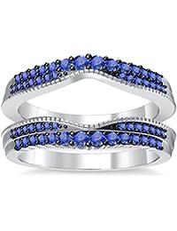 Silvernshine 14K White Gold PL Tanzanite Simulated Diamond Double Row Wedding Ring Guard Enhancer