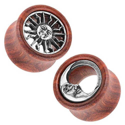 Piercingfaktor Flesh Tunnel Ohr Piercing Plug Ohrpiercing 1 Paar Holz Ear Organic Double Flared mit Sonne & Mond Inlay Braun Silber 2er Set 12mm