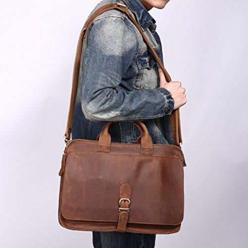 Leathario sac serviette cuir véritable sac à main en cuir pour homme sac porte épaule sac mesager véritable cartable homme en cuir véritable Brun clair2
