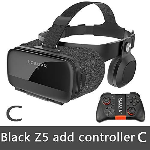 Zach-8 VR-Headset mit Fernbedienung, Virtual Reality-Headset 3D VR-Brille Brille für 3D-Filme und -Spiele Handy mit drahtloser Bluetooth-Telefonverbindung,C