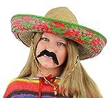 ILOVEFANCYDRESS Señoras Sombrero Mexicano Verde + Negro Sombrero de Accesorios de Disfraz de Bigote Tash Vacaciones Paja para Despedida de Soltera