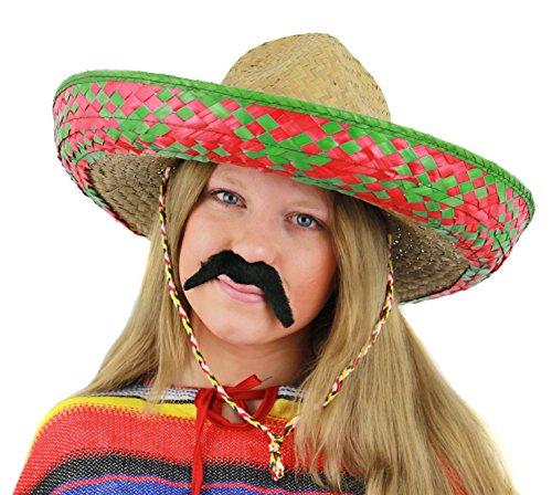 Señoras sombrero mexicano verde + negro Sombrero de accesorios de disfraz de bigote Tash vacaciones paja para despedida de soltera