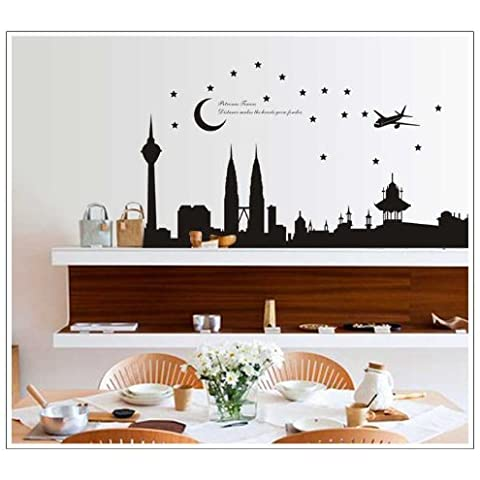 good life de la ciudad de escena nocturna Avión Luna y Estrella Negro Pegatinas de Pared para dormitorio o sofá o chimenea Decoración Para La Pared