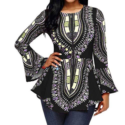 KaloryWee Women Asymmetric Hem Long Sleeve Printed Zipper Closure Blouse Tops