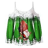 IZHH Damen Langarm T-Shirt, Mode Spitze Patchwork Spaghetti Strap Top Weihnachten Print Sling Bluse Weihnachten Hosenträger Spitze Stitching Top Party Outdoor Daily Tops(Grün,X-Large)