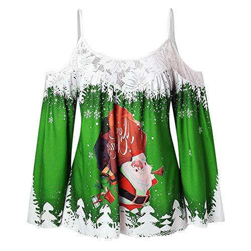Bauycy Weihnachten Damen Sling Lace Panel Top T-Shirt Pullover Sweatshirt Kurzer Weihnachtsdruck Undichtes Schulterhemd Frauen Weihnachtsparty Party Festliches Top