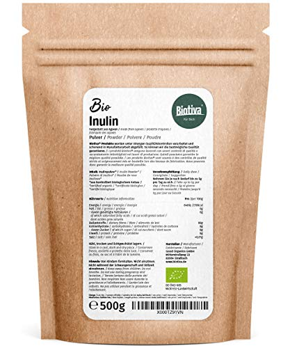 Inulin Bio Pulver – 500g Agavenpulver mit 90% Ballaststoffgehalt – Präbiotikum – abgefüllt und kontrolliert in Deutschland (DE-ÖKO-005) – 100% vegan