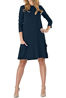 YMING Femme Robe Longues Manches Casual Tunique Style Basique T-Shirt Tops  Mini Robe 14 6965e728324