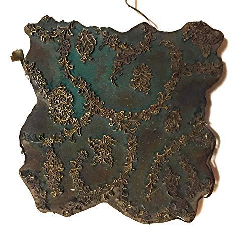 Unbekannt Inconnu Tampon à Pression en Laiton et Teck Couleur Textile