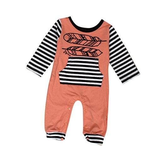 Bekleidung Longra Neugeborenes Baby jungen Mädchen Print Langarm Strampler Overall Bodysuit Kleidung Outfit (0 -24 Monate) (70CM 6Monate, A) (Taille Jeans 29 Herren)