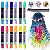 Lictin Haarkreide Haarkreide Kinder Auswaschbar 12 Farben Hair Chalk für Karneval Party Cosplay mit...