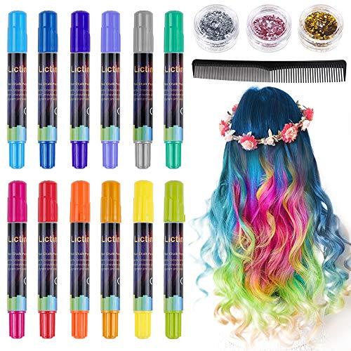 Lictin Haarkreide Haarkreide Kinder Auswaschbar 12 Farben Hair Chalk für Karneval Party Cosplay mit 8pcs Handschuhe 3 Glitzer und Kamm