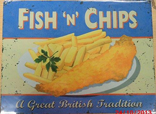 Fish and chips targa placca metallo Stabile piatto Nuovo 30x40cm VS3400