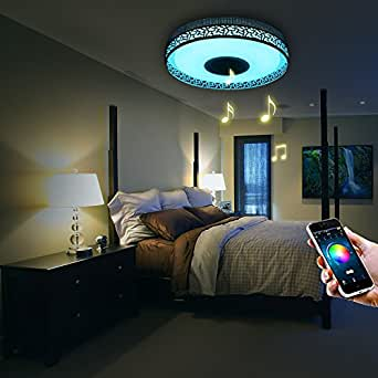 ilifesmart led deckenleuchte dimmbar farbwechsel 4160lumens mit bluetooth lautsprecher app. Black Bedroom Furniture Sets. Home Design Ideas