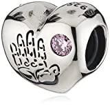 Pandora Women's 925 Sterling Silver Round Pink Cubic Zirconia Baby Girl Charm Bead