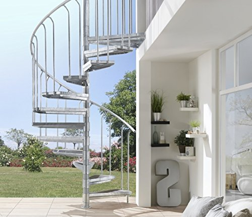 Intercon Outdoor Steel Steps, K2 Wood Edition, Wood-Plastic Composite, Diameter 120 / 140 / 160 / 180 /200 cm, anthracite