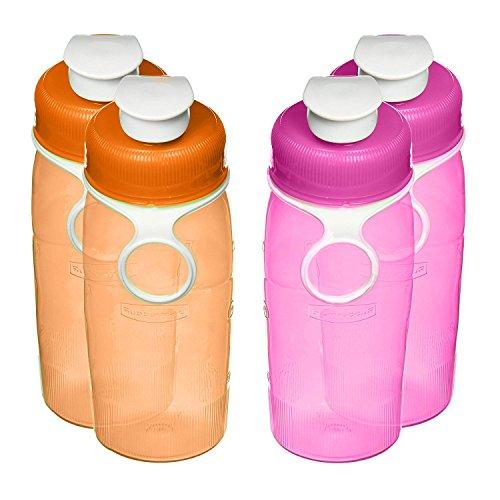 Rubbermaid Refill, Reuse 14-ounce Mini Chug Bottle, (2-Pink, 2-Orange) by Rubbermaid Rubbermaid Mini