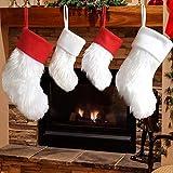 Dremisland 4 Stück Kunstpelz Luxus Weihnachtsstrümpfe Weihnachtssocken Rot und weiß Plüsch Socken Ornamente Traditionel Hängend Weihnachtssocken Ideal Weihnachten Kamin Dekoration