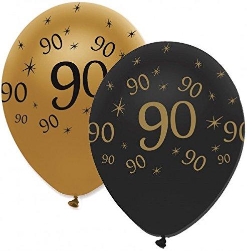 34 Teile Dekorations Set zum 90. Geburtstag oder Jubiläum – Party Deko in Schwarz & Gold - 3