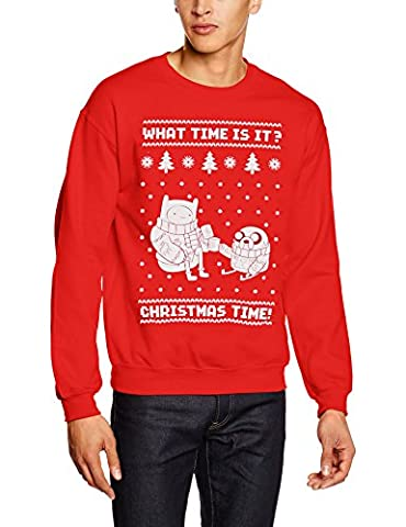 Adventure Time Men's Christmas Time! Short Sleeve Jumper, Red, X-Large