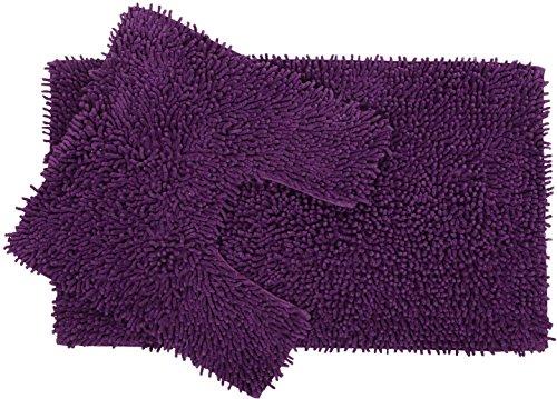 Set di 2 pezzi in ciniglia di cotone con tappetino da bagno e ...