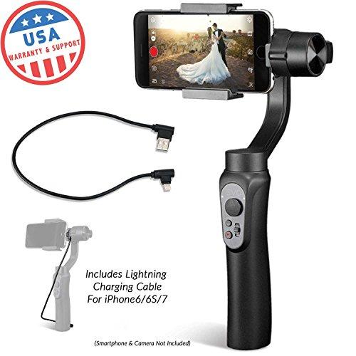 Evo Shift 3Axis Handheld Gimbal für iPhone & Android Smartphones Schwarz | Paket enthält: Evo Shift + iPhone Ladekabel.