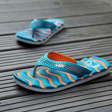 Slippers & amp da uomo;Comfort PU Estate casuale tallone piano Arancione Verde Blu Nero / sandali bianchi sandali US7.5 / EU39 / UK6.5 / CN40