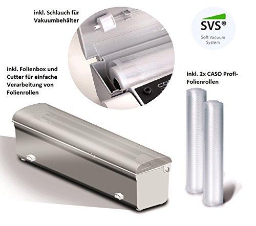 CASO VC300 Vakuumierer - Vakuumiergerät, Lebensmittel bleiben bis zu 8x länger frisch - natürliche Aufbewahrung ohne Konservierungsstoffe, doppelte 30cm lange Schweißnaht, regulierbare Vakuumstärke, inkl. Folienbox und Cutter, inkl. 2 Profi-Folienrollen & Schlauch für Vakuumbehälter - 4