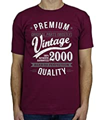 Idea Regalo - 2000 Vintage Year - Aged To Perfection - Regalo di Compleanno Per 18 Anni Maglietta da Uomo Bordeaux S