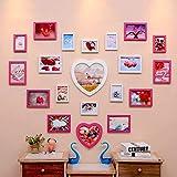 Cadres photo photo Photo Mur Creative Salon Mariage Photo Mur En Forme d'Amour Chambre des Enfants Photo Mur Photo Cadre Mur Portefeuille Cadres d'affichage photo (Couleur : White+pink)