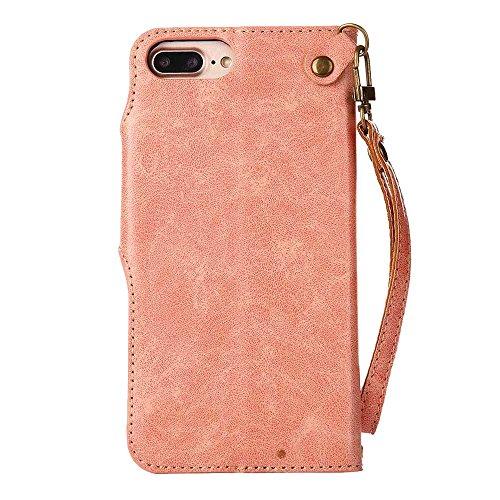 Custodia iPhone 7 Plus,Custodia iPhone 8 Plus, COOSTOREEU Retro Embossed Roses Magnetic Slotted Wallet Case+ Cinghia di Polso Smontabile Progettazione per Apple iPhone 7 Plus / 8 Plus, Cachi Rosa