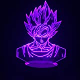 3D ILLUSION Night Lights Sieben Dragon Ball Z Goku Nacht Lampe, USB LEDs Touch Control Home 3D Arts Lampe, 7 farbwechselnde Decor Nachtlicht Geschenke
