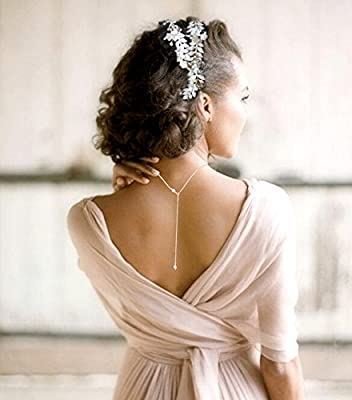 Collier Lasso, Bijou De Dos, Mariee,perles,swarovski, Argent 925 Ou Plaque