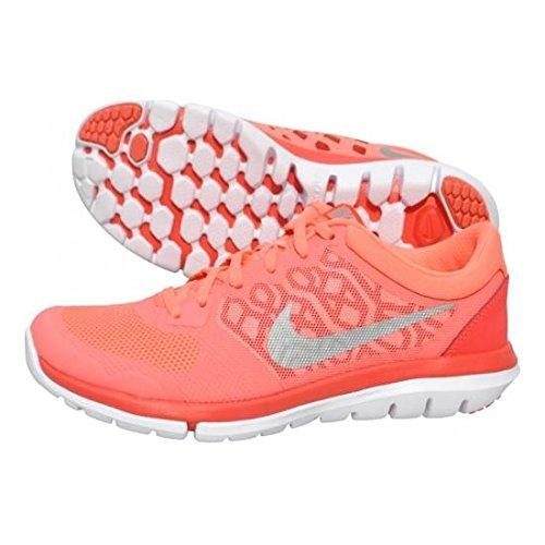 Nike Wmns Flex 2015 Rn, Zapatos Para Correr Para Mujer Naranja / Blanco / Plateado