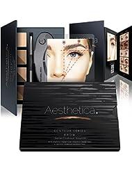 Aesthetica Cosmetics Brow Contour Kit - 15-Piece Contouring Eyebrow Makeup Palette - Includes Powders, Wax, Stencils, Spoolie/Brush Duo, Tweezers &