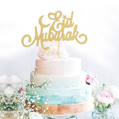 Eid Mubarak Ramadan Islamic paper Cake Topper Glitter Cake Topper Hajj Mubarak D