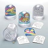 """Schneekugeln zum Ausmalen """"Einhorn"""" für Kinder zum Gestalten – Kreatives Bastelset für Kinder (4 Stück)"""