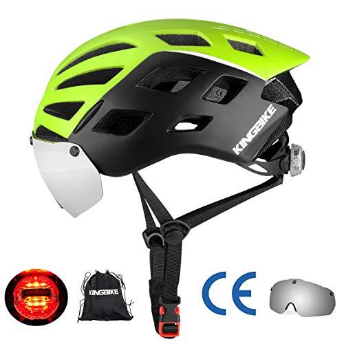 KING BIKE Fahrradhelm mit Abnehmbaren Schutzbrille Schild Visier Damen Herren UV400 Schutz Kann kann über die Brille Grün