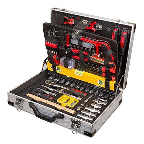 Professioneller Werkzeugkoffer 139teilig mit Qualitätswerkzeug im praktischen Alukoffer mit Ratschenfunktion